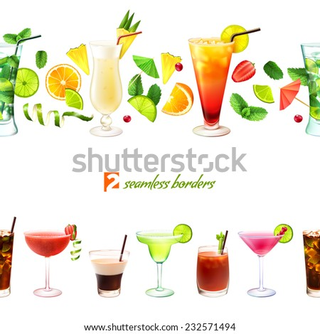 Cocktail seamless border with drinks in glasses and decoration vector illustration - stock vector