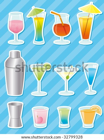 Cocktail stickers - vector