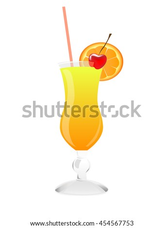 Cocktail. Summer tropical cocktail on isolated bakcgroung