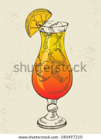 Cocktail tequila sunrise with ice and orange. - stock vector