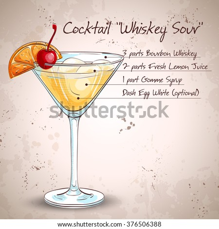 Cocktail Whiskey sour - stock vector