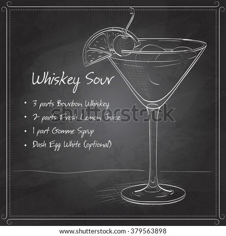 Cocktail Whiskey sour on black board - stock vector