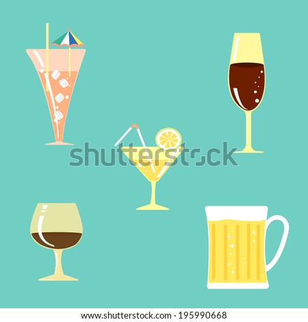 Cocktail,wine and cold beer for summer.