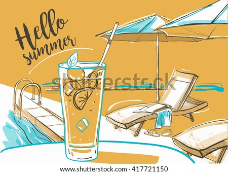 cocktail with fresh lime at the beach, umbrellas and  sunbeds. - stock vector