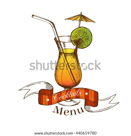 Cocktail with lime, straw, umbrella and ribbon. Sticker isolated on white. It can be used as a logo and a menu. Summer season. Illustrations in graphic style. Drawing by hand, sketch. Vector - stock vector