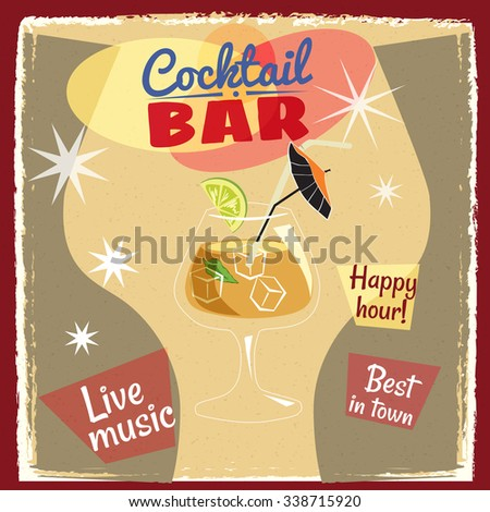 Cocktails, a billboard, a cocktail bar, cartoon, vintage, vector, banner, illustration - stock vector