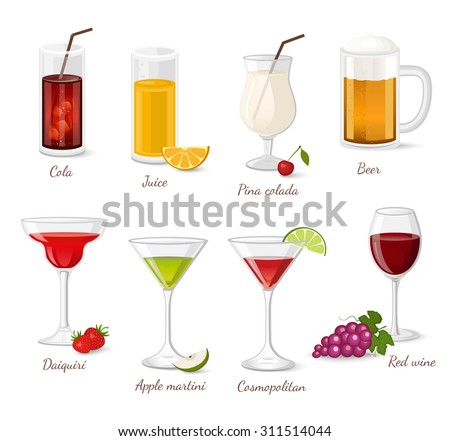 Cocktails and drinks vector illustration with red wine beer cola juice - stock vector