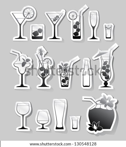 Cocktails and glasses with alcohol on stickers - stock vector