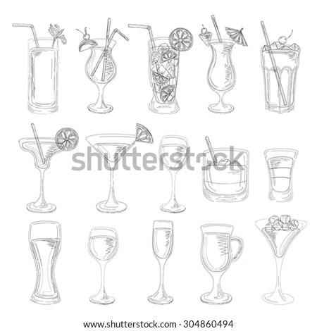 Cocktails collection. Vector Set of Sketch Cocktails and Alcohol Drinks. Margarita, Blue Lagoon, Mojito, Cosmopolitan, Pina Colada, Bloody Mary, Mulled wine, Iceberg, Long island, White Russian. - stock vector