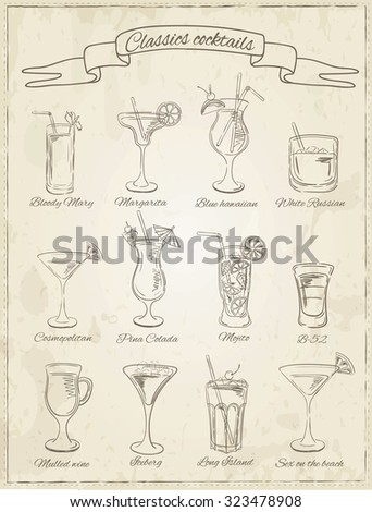 Cocktails collection. Vector Set of Sketch Cocktails and Alcohol Drinks. Margarita, Blue Lagoon, Mojito, Cosmopolitan, Pina Colada, Bloody Mary, Mulled wine,  - stock vector