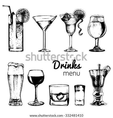 Cocktails drinks, cocktail glasses. Cocktail bar menu. Cocktail party.  Drinks menu. Vector set of alcoholic drinks and cocktails. Cocktails illustrations set. Hand drawn cocktails and drinks. - stock vector