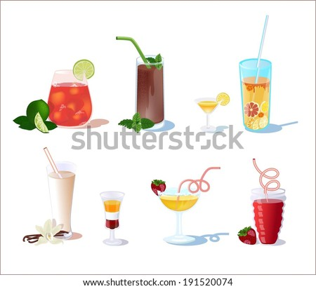 Cocktails from fruits with mint, vanilla, alcohol and chocolate.