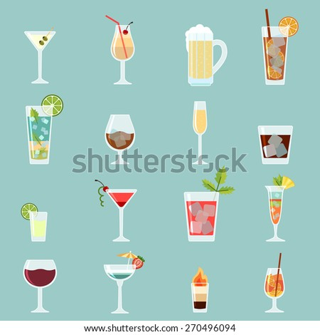 Cocktails icon set in flat design style. - stock vector