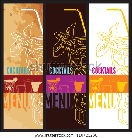 Cocktails Menu Card Design template. Menu template for restaurant, cafe and bar vector design set. - stock vector