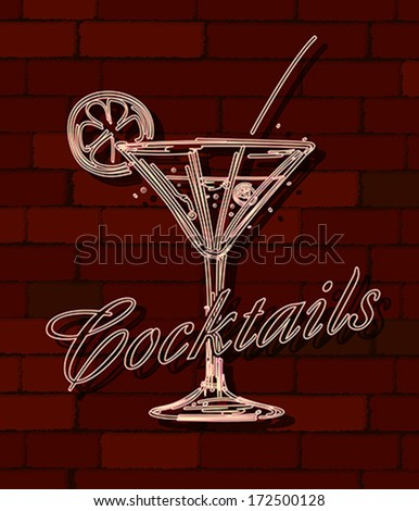 Cocktails neon sign over a brick wall - stock vector