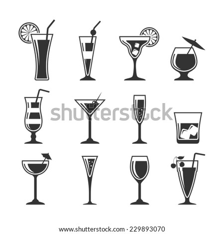 Cocktails set.