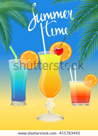 Cocktails. Summer tropical coctail poster with palm leaves.