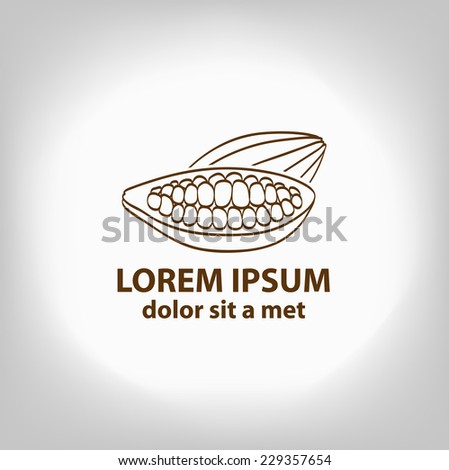 Cocoa beans, logo, sign. - stock vector