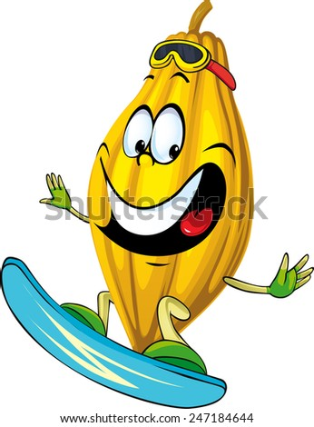 Cocoa pod character surfing isolated on white background  - stock vector