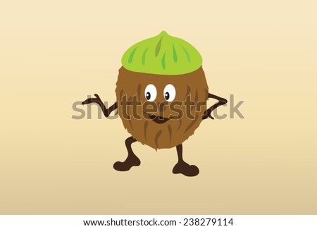 Coconut food, fun coconut cartoon, brown and green hat from its natural casing. - stock vector