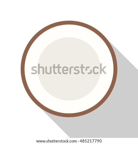 coconut icon or button in flat style with long shadow, isolated vector illustration on white transparent background