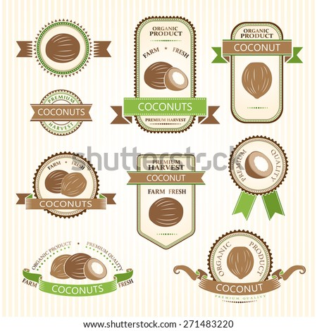 Coconut labels. Fruits labels collection. - stock vector