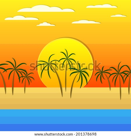 coconut on beach under orange summer sky with cloud and sunset background(vector)