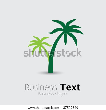 Coconut palm tree icons or symbols of travel- vector graphic. This illustration represents exotic travel destinations, tropical tourism places, beach and sea resorts and spas, etc - stock vector