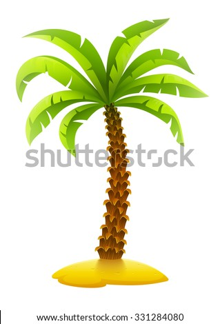 Coconut palm tree on sand island. vector illustration. Isolated on white background. Transparent objects used for lights and shadows drawing. - stock vector