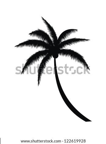 Coconut Palm Tree Silhouette on Beach Vector - stock vector