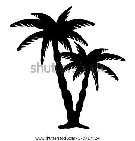 Coconut palms trees black silhouettes isolated on white background. Abstract design logo. Logotype art - vector  - stock vector