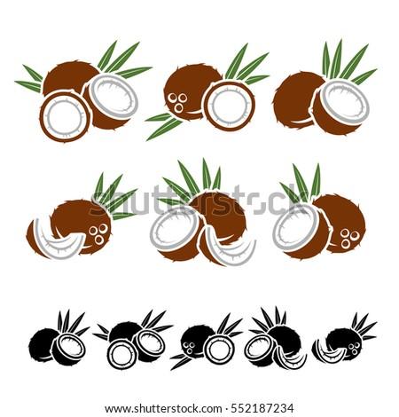 Coconut set. Vector