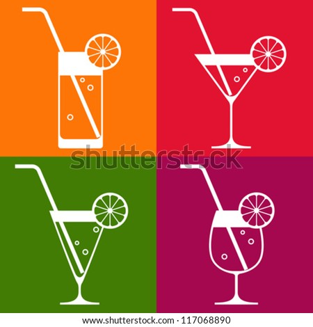 Coctail glasses with lemon and drinking straw - stock vector