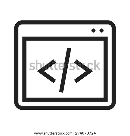 Code, coding, programming, development icon vector image. Can also be used for SEO, digital marketing, technology. Suitable for web apps, mobile apps and print media. - stock vector