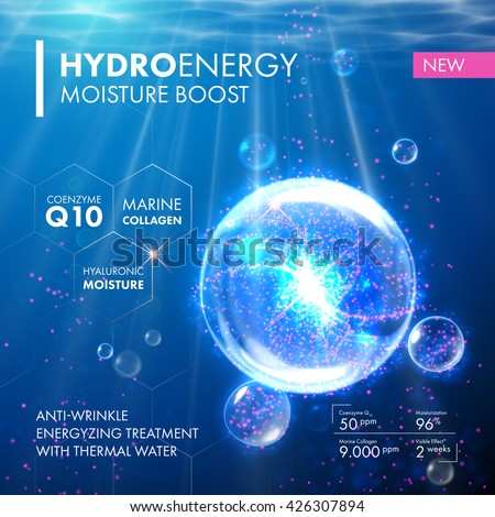 Coenzyme Q10 and  hyaluronic acid energy boost moisturizing collagen design. Oxygen Underwater jellyfish  bubble for skin care concept.