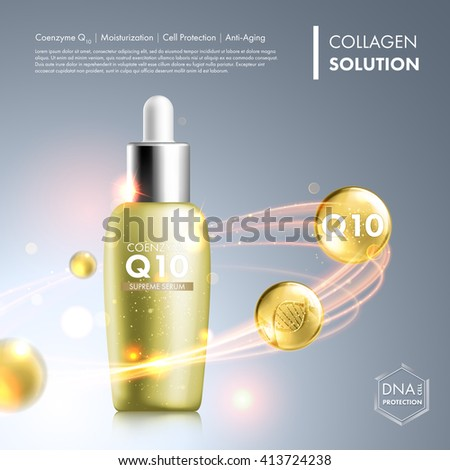 Coenzyme Q10 serum essence bottle. Skin care moisturizing treatment vial design. Anti age DNA helix protection solution. Premium shining enzyme droplet. Vector illustration. - stock vector
