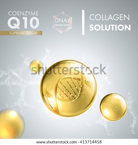 Coenzyme Q10. Supreme collagen oil drop essence with DNA helix. Premium shining serum droplet. Vector illustration. - stock vector