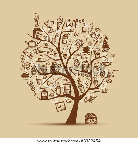 Cofee time. Art tree for your design - stock vector