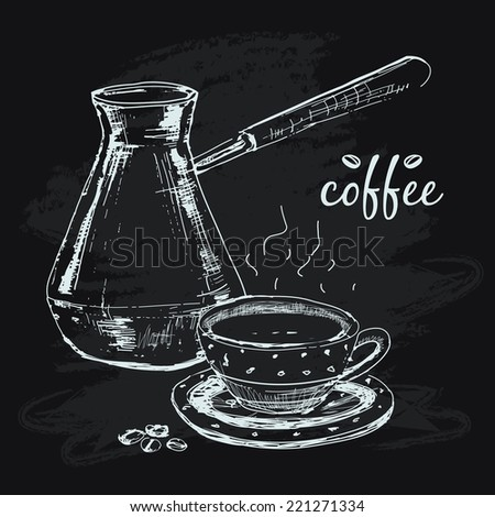 Coffe. Hand drawn graphic illustration with cup of coffee - stock vector