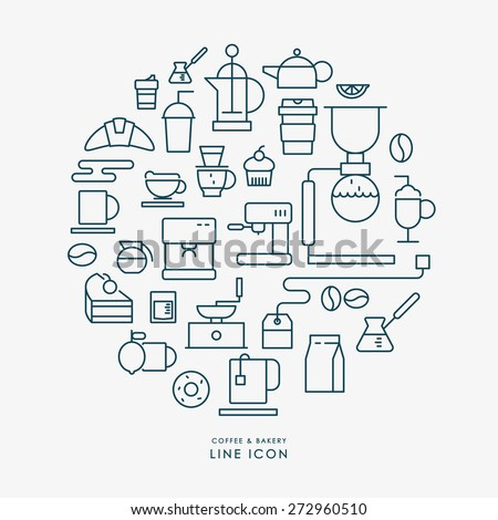 coffee and bakery line icons infographic vector - stock vector