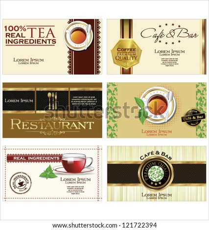 Coffee and business card set - stock vector