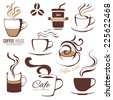 coffee and cafe logo templates set - stock