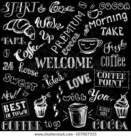 Coffee and cocoa - lettering,hand drawn on black background, stock vector illustration