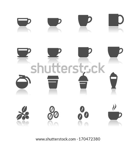Coffee and Coffee cup Icons with White Background - stock vector