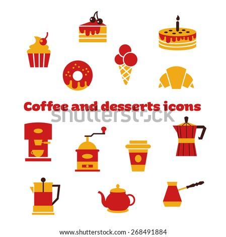 Coffee and desserts icons with White Background. Vector Set of Coffee Icons. Icons for Coffee Shop. - stock vector