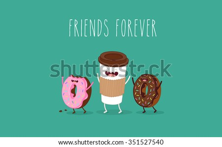 Coffee and donuts illustration. Vector cartoon. Comic characters. - stock vector