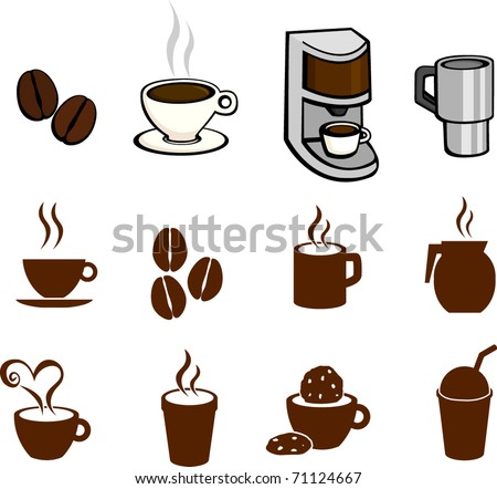 coffee and hot beverages illustrations and symbols set - stock vector