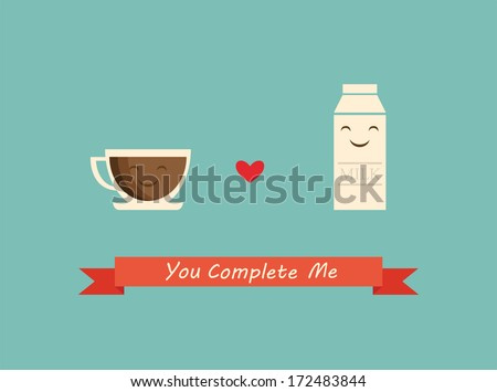 coffee and milk best friends; happy valentines card - stock vector
