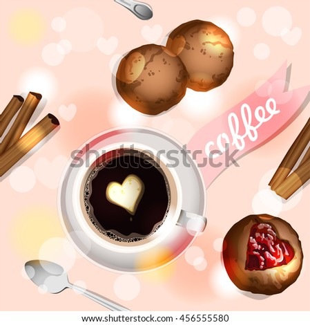 Coffee and muffins. Pink. Seamless background. Vector.
