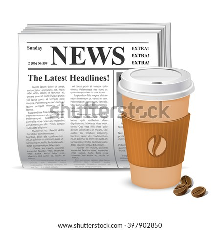 Coffee and news. Vector illustration. Newspaper and takeaway coffee. - stock vector